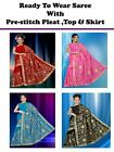 Ready to wear wedding Embroidery Sequin Sari Saree blouse,skirt pre-stitch pleat