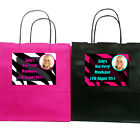 Personalised ZEBRA PRINT PARTY BAGS with YOUR PHOTO Birthday Hen Night 19x8x21cm