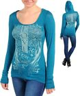 Womens Hoodie top blouse graphic rhinestone embellished  S M L XL 2XL 3XL cross