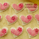 Hot Pink Gingham Heart Felt Appliques Padded Craft Sewing Scrapbooking Trim APQA