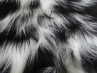 LONG Pile Fun Faux Fur Fabric Material BLACK & WHITE MIX