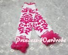 Baby Girls Hot Pink Pattern White Leg Warmer Legging with Ruffles
