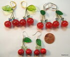 Handcrafted CHERRY EARRINGS Jade Agate Ruby Leverbacks/Earwires Gold/Silver/925