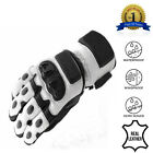 New White/Light Gray Leather Biker Motorbike Motorcycle Waterproof GLoves