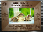 Personalised Rabbit Hamster Guineapig wood Photo frame, cage sign or coaster