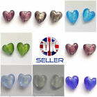 10 Silver Foiled Lampwork Glass Beads 12mm Heart Beads