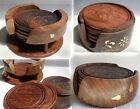 Hand Carved Wood Wooden ROUND COASTER SET in Holder 6 COASTERS Drinks Table Mat