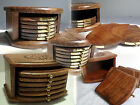 Hand Carved Wood TRAY STYLE COASTER SET HOLDER 6 Coasters Drinks Mat PLAIN BRICK