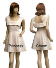 Retro Beige Brocade Short Mini Cocktail Party Dress for Winter Size 8 10 12 New