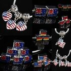USA Canada Flag Cube Heart Crystal GEM Charms Dangle European Bead Finding Loose