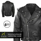Mens Black Classic Motorcycle Perfecto Brando Cowhide Leather Jacket Biker UK