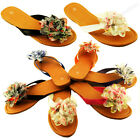 Womens Sandals Cute colorful Ruffle Flower Thongs Flats Sandal Style Flip Flops