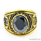 Gothic Mens Gold Tone Zircon 316L Stainless Steel Ring R5V21A