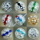 Top Quality Crystal Pave Rond Spacer Steady Metal Beads 10mm 10pcs