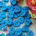 Blue Heart 15mm Wood Buttons Sewing Scrapbooking Cardmaking Craft NCB017-4