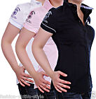 SUBLEVEL DAMEN BLUSE KURZARM HEMD FIGURBETONEND BADGE STICKEREI XS S  M L XL