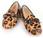 US 5-9 New Leopard Leather tie flat ballet women Driving Moccasin Loafer Shoes