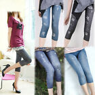 New Women Slim Fit Capris Pants Skinny Denim Jeans Look Short Leggings