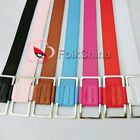 Womens Ladies Girl Slide Metal Buckle PU Leather Waist Belt Waistband Wide New