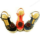 New Womens Open Toe Platform Wedge Heels Black Blue Coral Espadrille Shoe Size