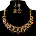 Unique designer Cocktail Party Earrings Necklace Jewelry Set Crystal Rhinestone