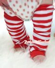 XMAS Baby Girls Red White Striped Leg Warmer Legging & Optional Colorful Ruffles