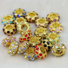WHOLESALE LOTS CRYSTAL 6X11MM GOLD SPACER EUROPEAN BIG HOLE CHARM BEADS FINDINGS