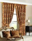 THE ULTIMATE THICK HEAVY WEIGHT CHENILLE ANTIQUE GOLD CURTAIN PAIR PERIOD STYLE