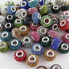14mm Czech Crystal Rhinestone Silver Big Hole Beads Fit European Charm Bracelets