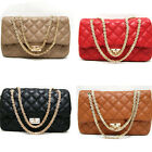 New classic Womens Quilted Leather like Gold Chain Clutch Shoulder Bag Handbags