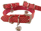 Dog Collar Pink Polka Dot pu Leather Diamante Studded + free Charm S,M,L