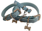 Dog Collar Blue Polka Dot pu Leather Diamante Studded + free Charm S,M,L