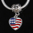 Crystal Rhinestone USA America Flag Wavy/ Heart European Beads For Charm Braelet
