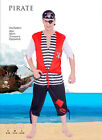 New mens pirate costume set eye-patch, hat, top and pants 3 sizes-AU STOCK