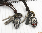 New bronze vintage crystal skull earphone red/white cross rings leather necklace