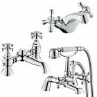 Traditional Bathroom Bath Filler Hand Held Shower Basin Mixer Chrome Tap Set