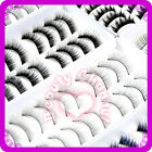 Fashion 10 Pairs Cosmetic Thick Black Fake False Makeup Eyelashes