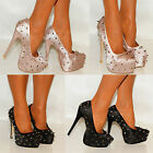WOMENS CHAMPAGNE NUDE BLACK SATIN STUDS STUDDING GLITTER HIGH HEELS SHOES SIZES