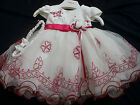 Xmas Baby Girls Red Ivory Flower Girl Christening Bridesmaid Party Dress 0-24m