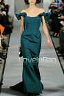 Runway Teal Off-Shoulder Bow Mermaid Train Formal Long Prom Gown Evening Dress
