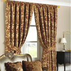 PERIOD STYLE 66 x 90  (168x229) HEAVY WEIGHT CHENILLE ANTIQUE GOLD CURTAIN PAIR.