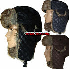 mens trapper hat with faux fur trim russian warm  NEW DIAMOND QUILT