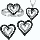 Ladies White Gold Finish Black/White Diamond Heart Ring Earrings Pendant Set
