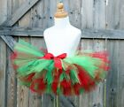 INFANTS GIRLS RED GREEN CHRISTMAS HAPPY HOLIDAY TUTU SHOWER GIFT PHOTO PROPS