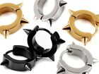 SPIKED SILVER GOLD OR BLACK PAIR OF STAINLESS STEEL EARRINGS HOOPS HUGGIES