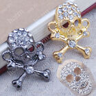 3pcs crystal pave gunmetal gold tone skull connector link fit macrame bracelet