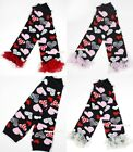 Valentine's Day Baby Girls Black Red Light Pink Heart Leg Warmer with Ruffles
