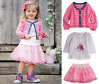 Kids Toddlers Girls Outfit Pink Stripe Knitted Cardigan+T-shirt+TuTu Skirt 6M-5Y