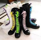 PUNK EMO Women Girl Shoes Canvas Flat Tall Boots Zip Lace Up Knee High Sneaker