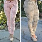 Light Peach coral  and Khaki Floral Print skinny Jeans DB9825